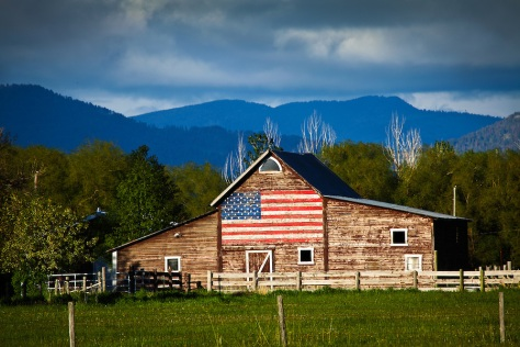 Barn with US flag
