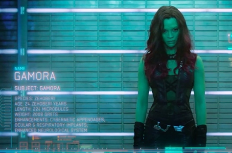Gamora, played by Zoe Saldana