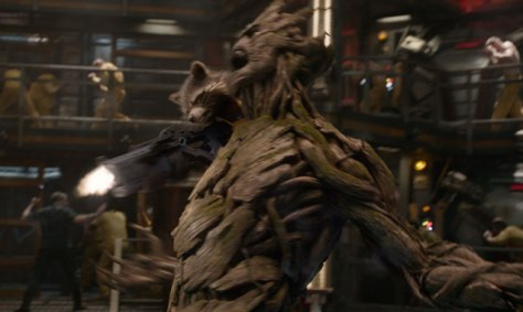 Rocket Raccoon, voiced by Bradley Cooper, and Groot, voiced by Vin Diesel
