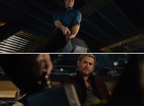 Captain America Lifting Thor's Hammer