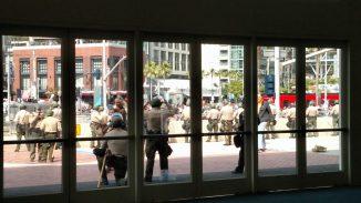 Law Enforcement outside Convention Center