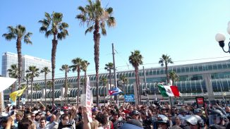Crowd outside convention center