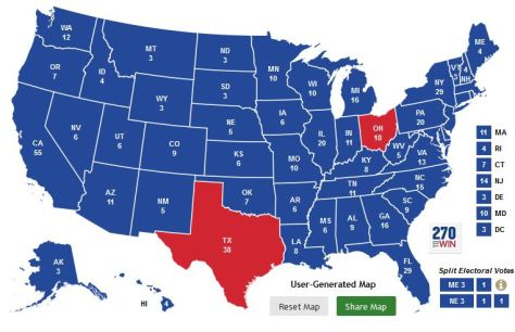 Electoral map of the 2016 presidential election if John Kasich was the Republican nominee.